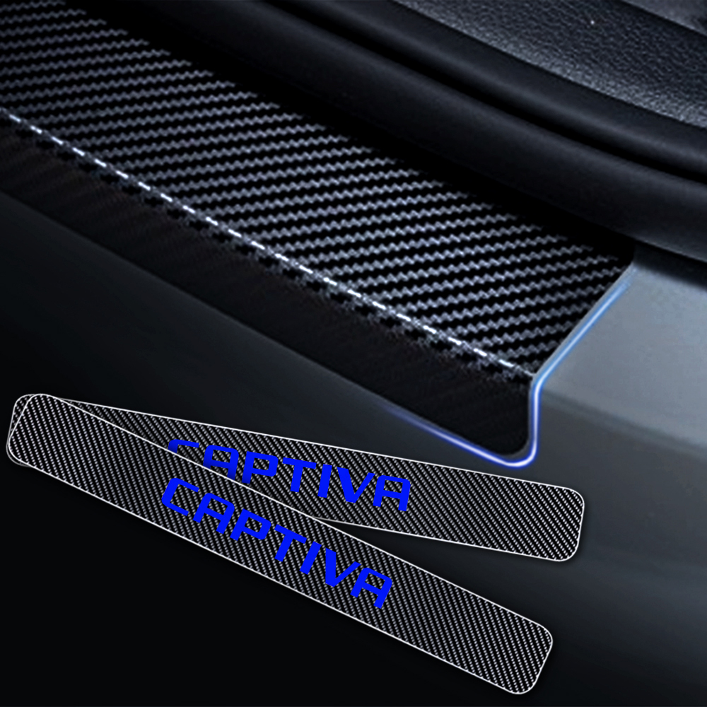 4PCS Carbon fiber vinyl sticker Car Door Sill Scuff Plate Door Step Protector For Chevrolet CAPTIVA Car Styling Accessories in Car Stickers from Automobiles Motorcycles