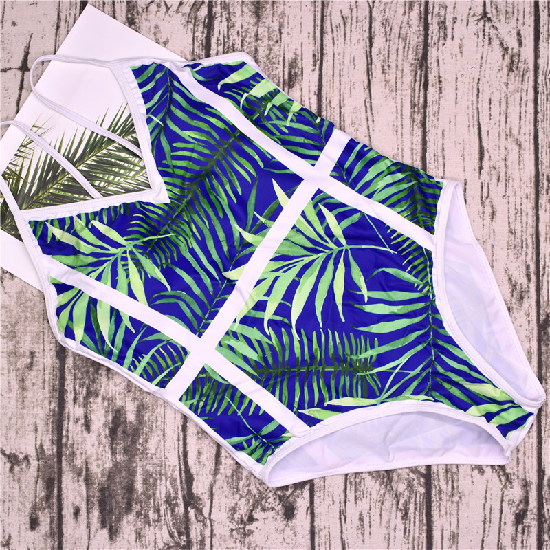 2018 New Green Leaf Swimsuit Sexy One Piece Swimwear Women Swimsuit Backless Pineapple Bathing Suit Swimming Suit Monokini 16