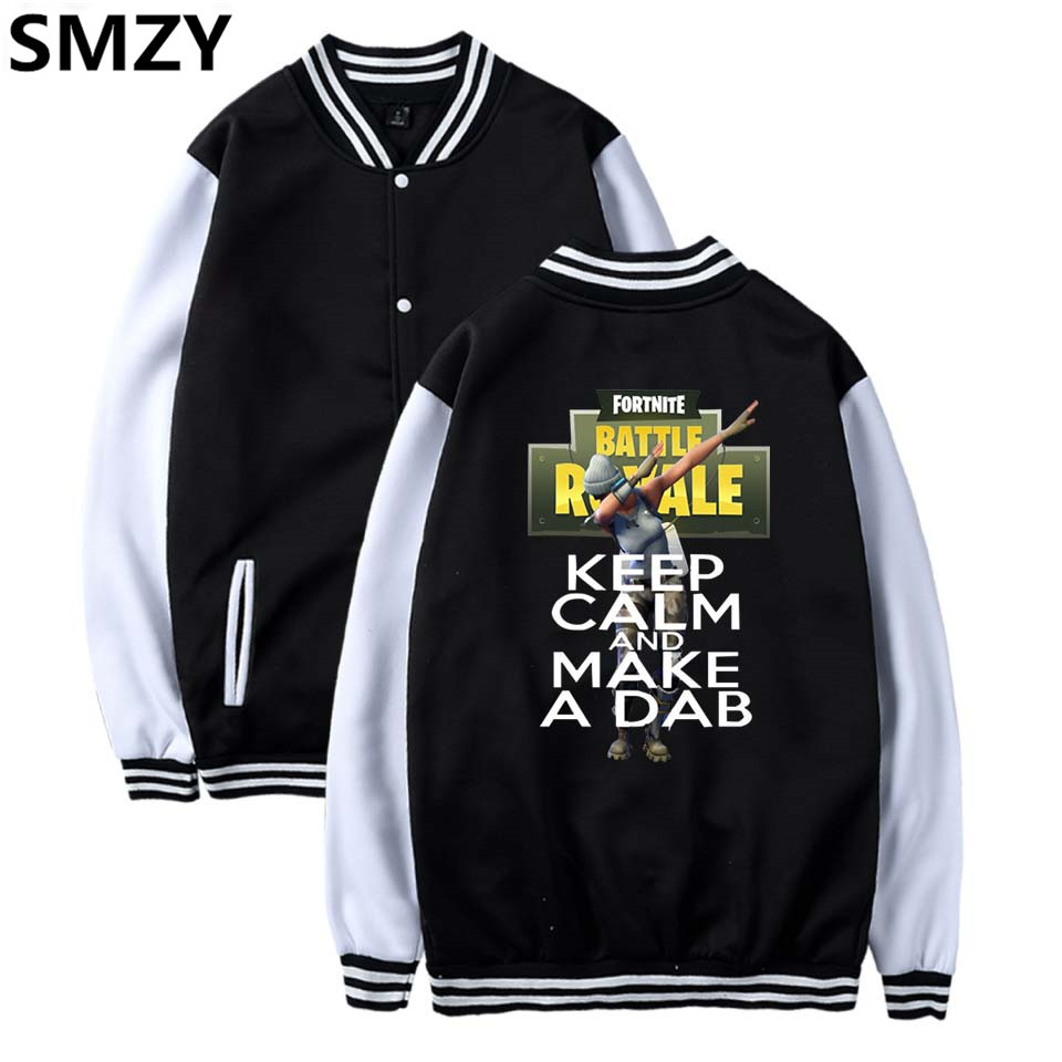 SMZY Fortnite Baseball Jacket Hoodies Womens Sweatshirts Fashion TGA FPS Games Sweatshirts Long Casual Funny Fans Black Clohes