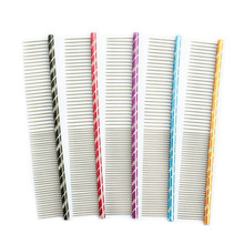 Armi store Pet Dog Comb 62003 Bright Multi-Colored Stripes Grooming For Shaggy Cat Dogs Barber Tools Salon 5 Color