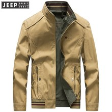 JEEP SPIRIT Autumn Spring Cargo Jackets Coats Man Both Side Wear Cotton Clothes Business Long Sleeve Solid Color Military Jacket