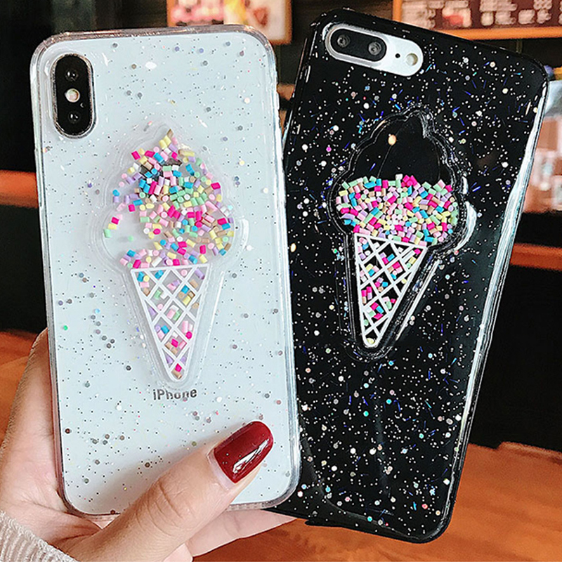LOVECOM Lovely 3D Summer Ice Cream Phone Case For iPhone 6 6S 7 8 Plus X Shining Glitter Powder Sof TPU Back Cover Coque