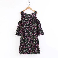 Summer Off The Shoulder Floral Print Women Chiffon Dress O-neck Casual Dresses Vestidos