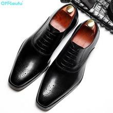 QYFCIOUFU 2019 Men Leather Shoes Business Dress Suit Brand Bullock Genuine Black Lace Up Wedding Mens