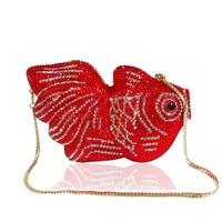 DaiweiNew Crystal Fish Clutch Small Animal Clutch Purse for Womens Wedding Prom Dinner Party Rhinestone Fish Evening Bags