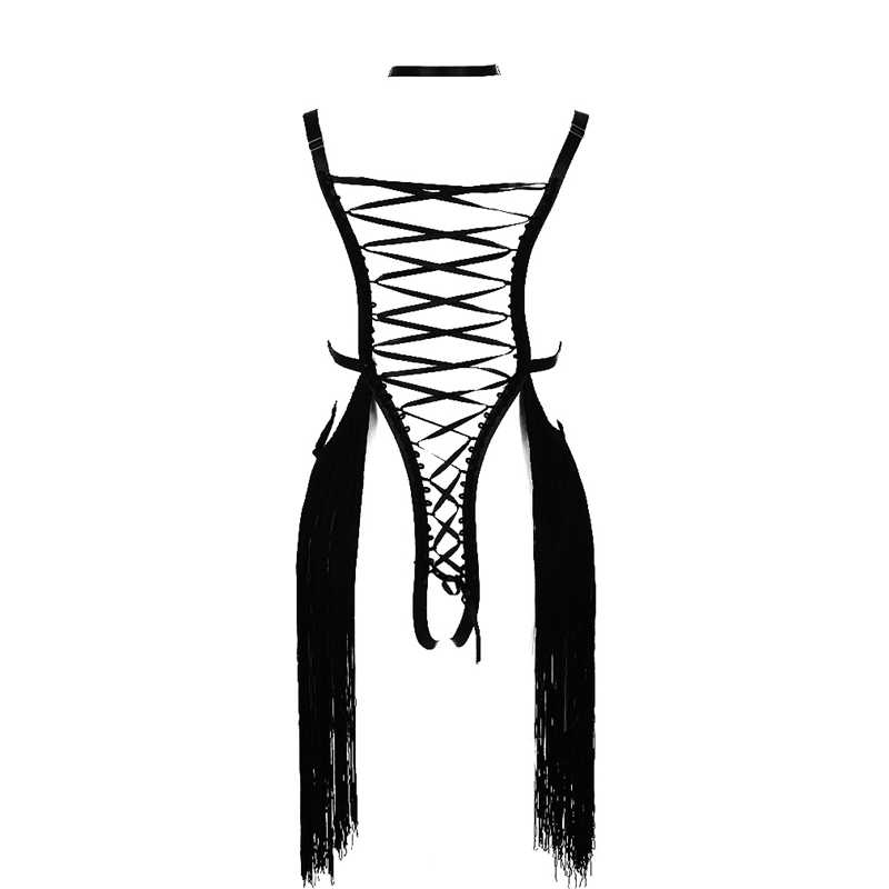 Body Harness Lingerie Set Black Sexy Cage Bra Fetish Chest Belt Strap Tassel Adjust V Collar Tops Hollow Out Gothic Dance Rave