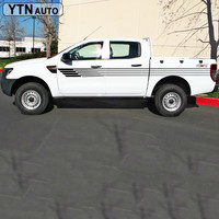2PC stripes pickup truck tapered vinyl decal hood graphic car sticker for camo van Ford ranger 2012 2016
