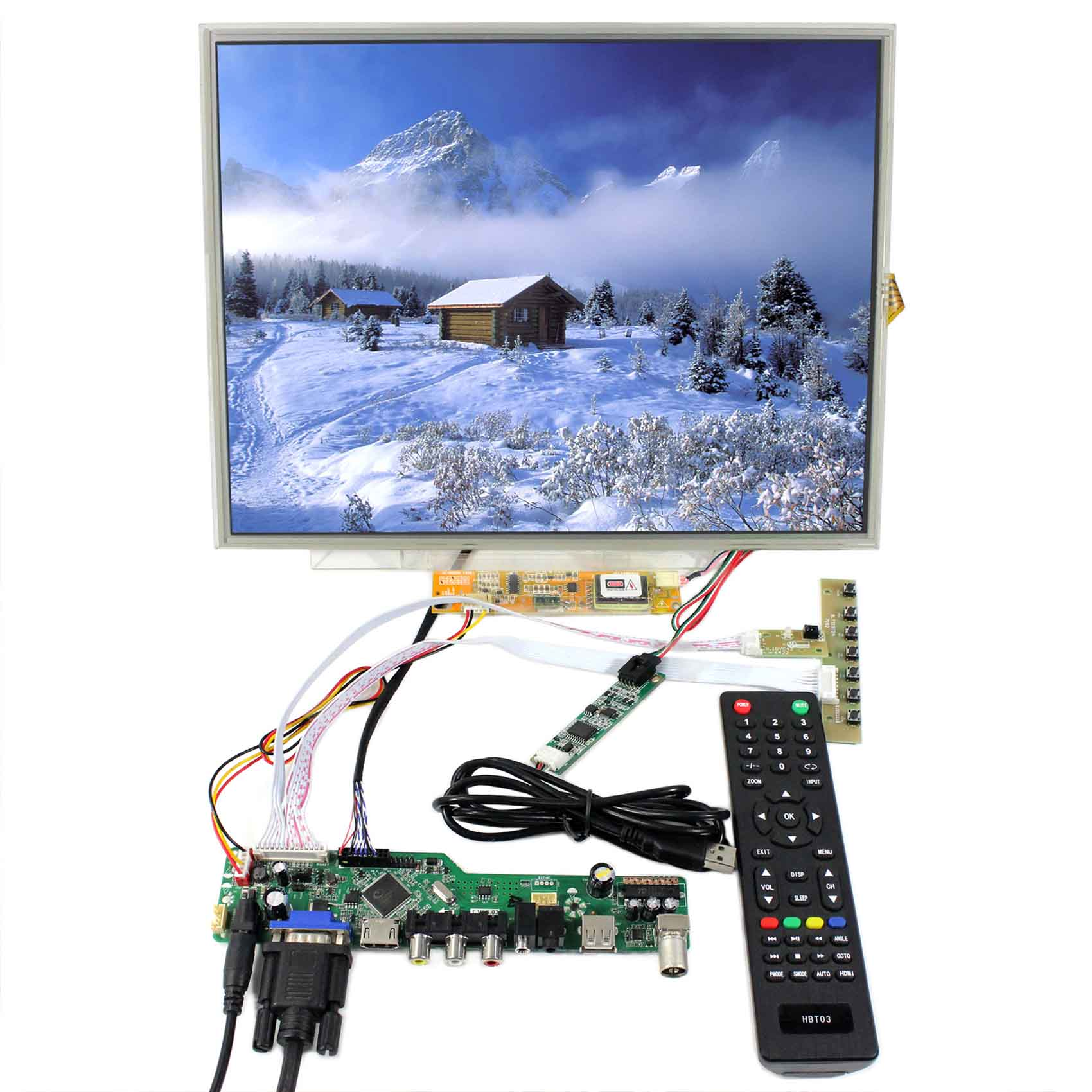 """15 inch 1024X768 LCD With 15"""" 4 Wire Resistive Touch Panel (One of   B150XG03 B150XG05 B150XG09 N150XB QD15XL06) +Controller 