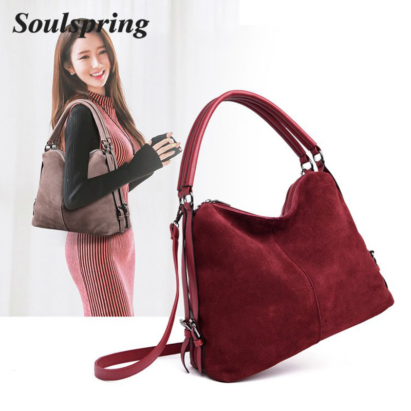 New Hot Real Split Suede Leather Shoulder Bag For Women 2018 Female Casual  Handbag Messenger Top c5cff4481177c