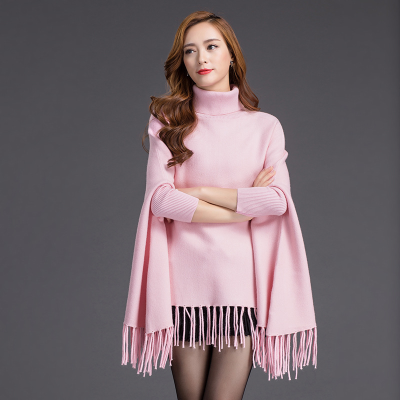 Women Batwing Sleeve Europe America New Winter Solid Color Tassels Hem Style Cloak Cape Tops Knitted