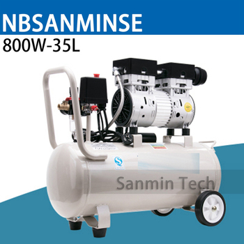 800W - 35L Mini Air Compressor Oilless High Pressure Mute Design Wood Working Home Application AC220V High Quality Sanmin
