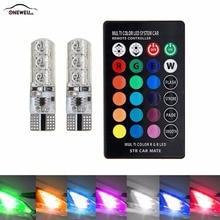 T10 Mudança de Cor RGB Conduziu a Luz Do Carro Lâmpada Largura Silicone Colorido Multi-modo de Flash Strobe Lâmpada Pequena