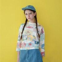 Cute O-neck Long-sleeved T-shirts Women's T Shirts Cartoon Printed Playful Harajuku Fashion Tee For Female Short Tops Ladies