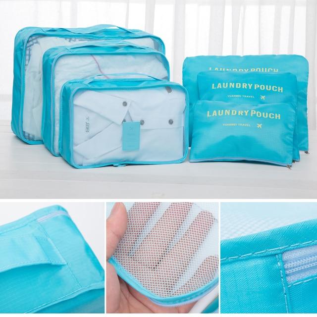 2018 6pcs/set Men and Women Luggage Travel Bags Packing Cubes Organizer Fashion Double Zipper Luggage BagTravel Bags Men Women Travel Bags & Luggage