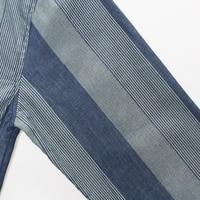 европа размеры м/размер 3XL для мужчин повседневное деним из хлопка с длинными рукавами в полоску с лацканами рубашки большой размеры мужской лоскутная футболка на сезон весна-осень j2466