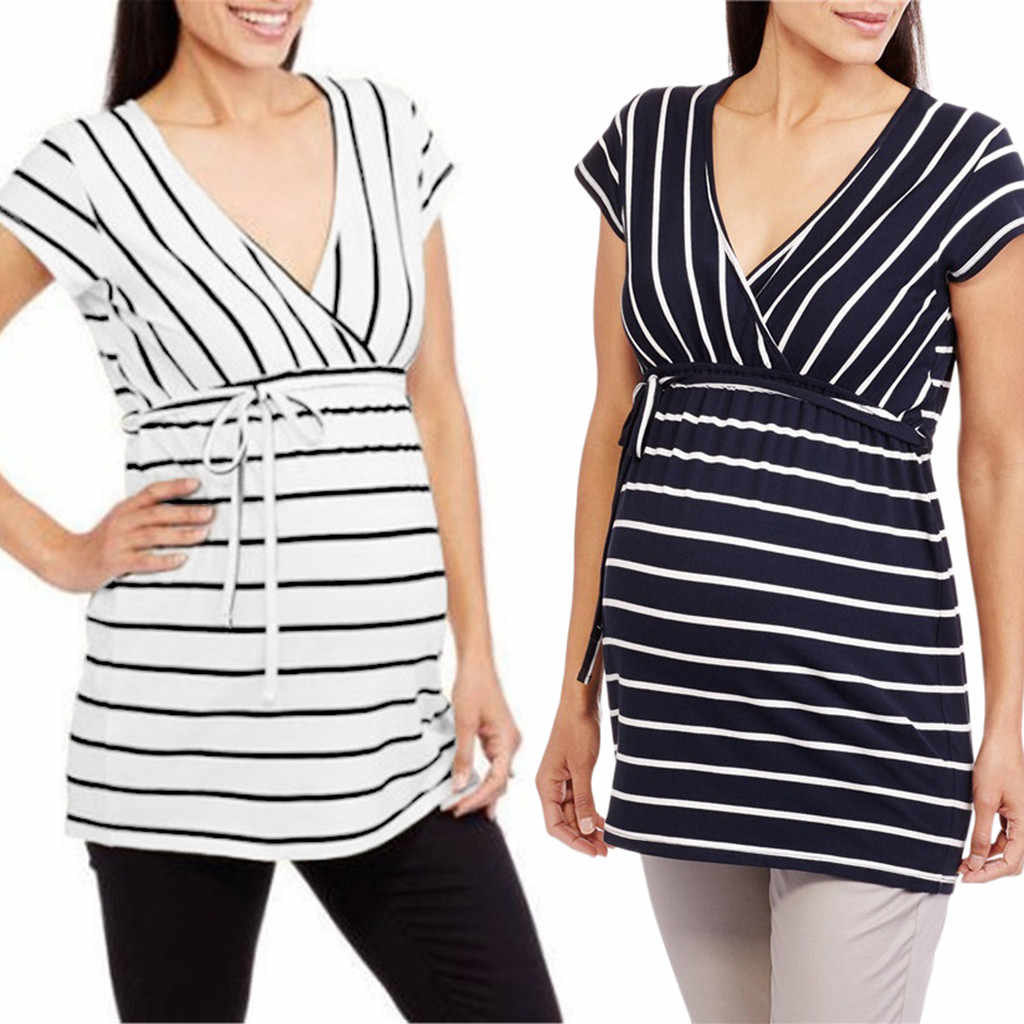 Maternity Clothes Women's Maternity Stripe Print V Neck Top Tee T-shirt Pregnancy Clothes Breastfeeding Clothes Ropa Embarazada