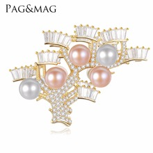 PAG&MAG 925 Sterling Silver Brooch Pendant Accessories Fan-shaped Design Multicolor Natural Pearl Pin Brooches Jewelry For Women