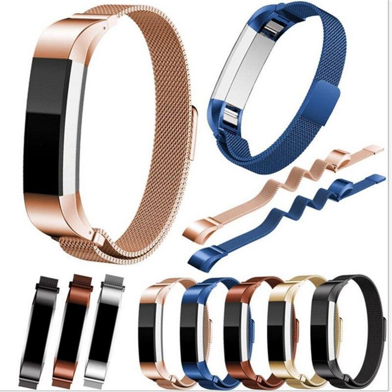 Banda de reloj dorada negra correa de repuesto milanesa bucle magnético de acero inoxidable banda de bloqueo magnético para Fitbit Alta/Alta HR
