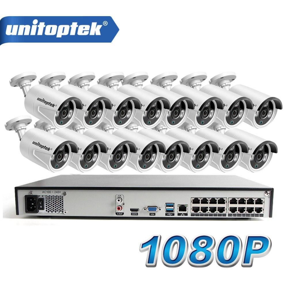 16 piezas HD 1080 P cámara IP bala al aire libre la noche resistente al agua visión 16CH POE CCTV NVR sistema P2P ver a casa vigilancia de seguridad Kit