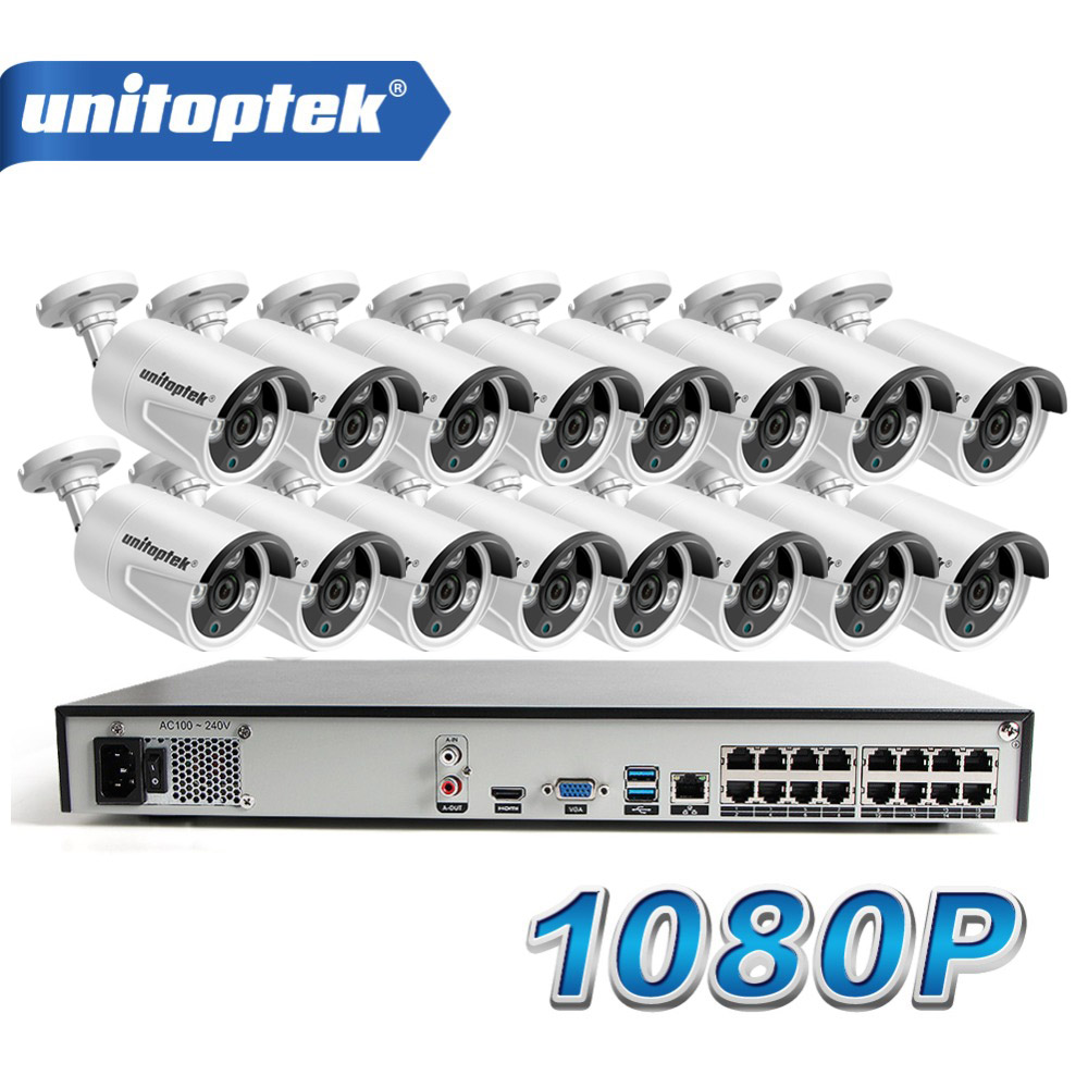 16Pcs HD 1080P Bullet IP Camera Outdoor Night Vision Waterproof 16CH POE CCTV NVR System P2P View Home Security Surveillance Kit