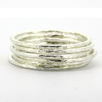Lotsale 6pieces Solid Sterling Silver Hammered Stack Ring