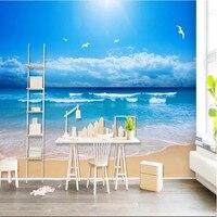 Custom HD Photo Wallpaper Living Room 3D Wall Murals Blue Sky Sea Beach Wall Paper Home