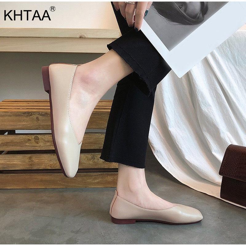 KHTAA Women's Slip On Casual Flats Moccasins Ladies Squared Toe Autumn Shoes Female Fashion 2019 High Quality Pu Comfort Footwea