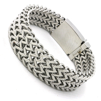 Newest Design Mens Boys 316L Stainless Steel 3 Layer Twins Silver Bracelet Newest Design Guarantee 100%