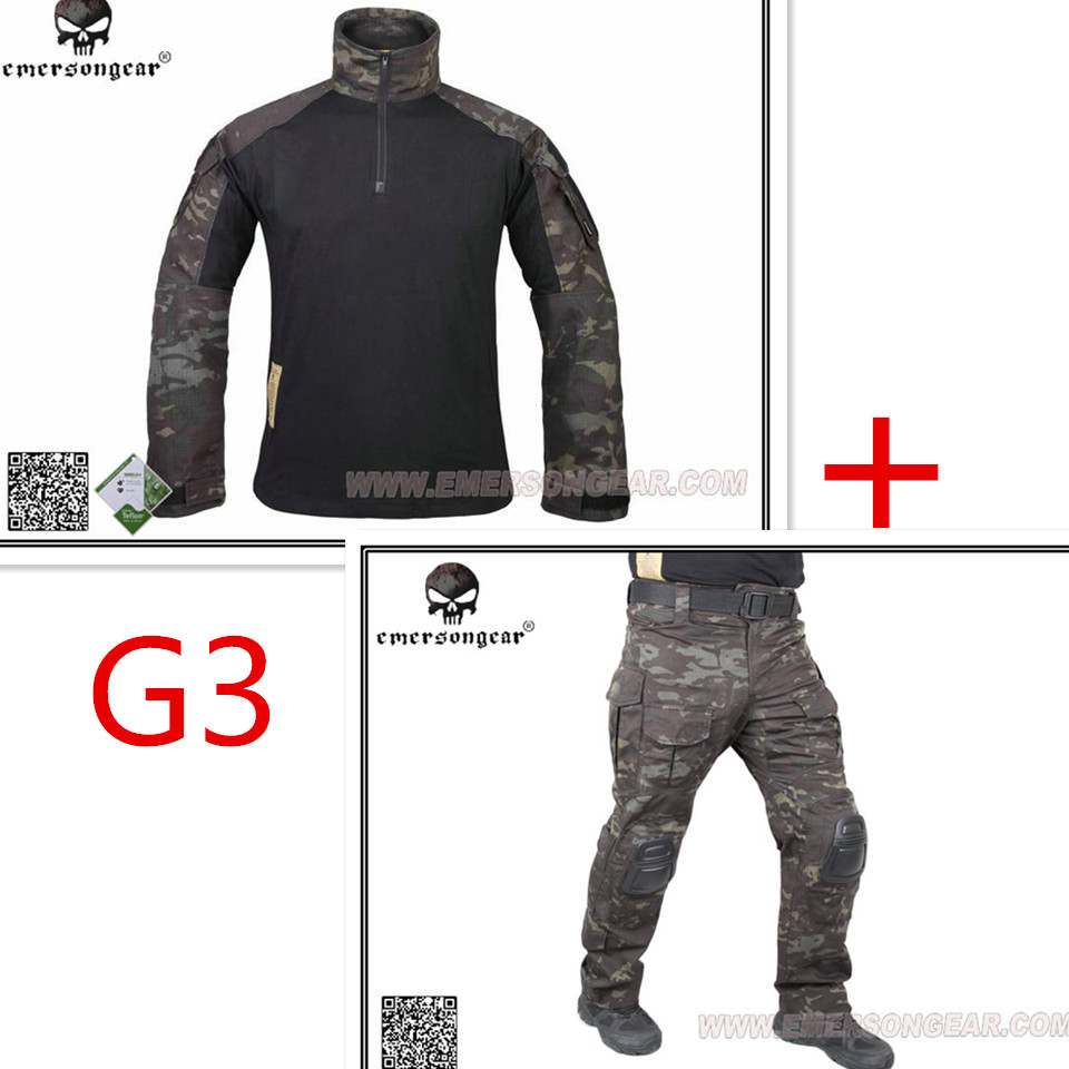 Hunting airsoft paintball combat tactical military BDU Emerson G3 Multicam black uniform shirt & Pants Suits  MCBK fifty shades darker no bounds ankle cuffs фиксаторы для лодыжек из натуральной кожи