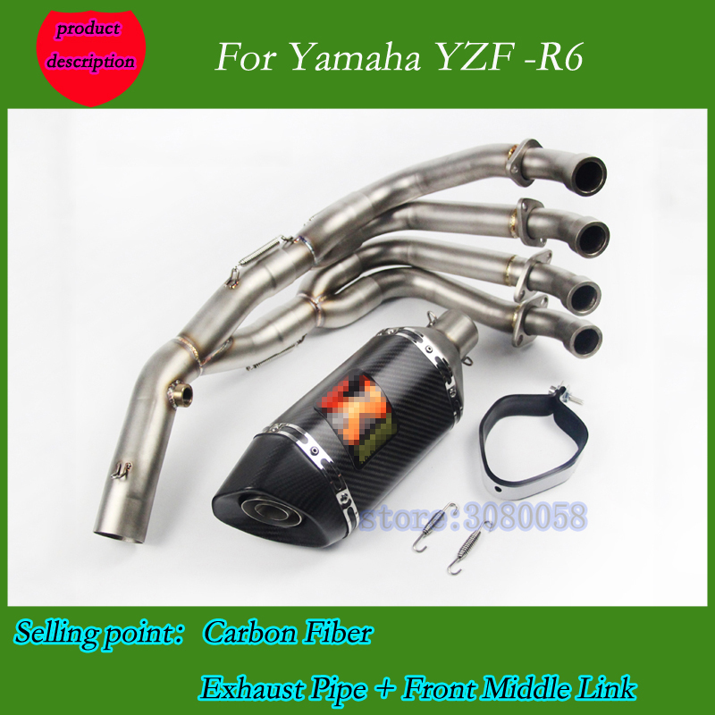 Full System YZF-R6 Motorcycle With Carbon Fiber Exhaust DB Killer For Yamaha YZF R6 2006-2014 Motorcycle Muffler Escape Pipe