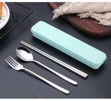 3pcs/set 304 Stainless Steel Flatware Set Spoon Fork Chopstick Dinner Tableware Kitchen Accessories Western PN 007