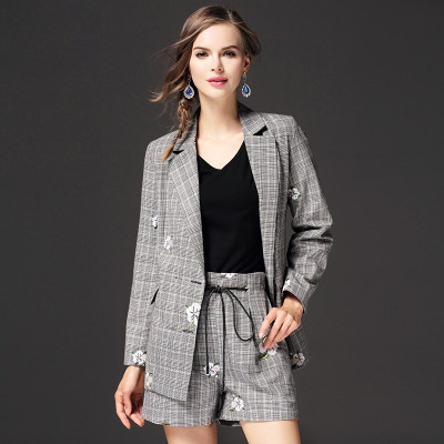 Spring Vintage Womens long-sleeved classic embroidery Plaid Blazer
