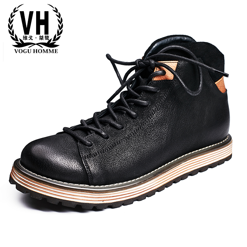 Men's leather casual shoes  youth Martin boots tooling short boots new men's winter  British retro breathable men shoes martin boots men s high boots korean shoes autumn winter british retro men shoes front zipper leather shoes breathable