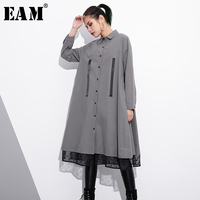 EAM 2018 New Spring Lapel Long Sleeve Solid Color Black Gray Loose Organza Split Joint