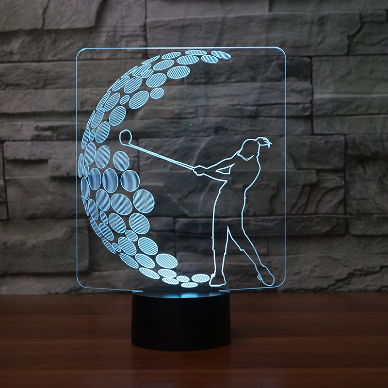 3D Visual Acrylic NightLight Play Golf Table Lamp 7 Colors Changing LED Bedroom Bedside Light Fixture Gifts Sleep Lighting Decor