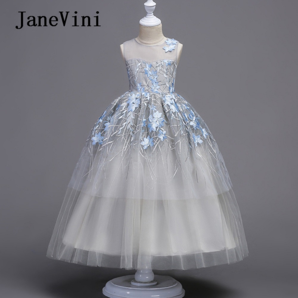 JaneVini 2018 Elegant Princess Flower Girl Dresses for Weddings Embroidery Pageant Gowns Floor Length Kids First Communion Dress