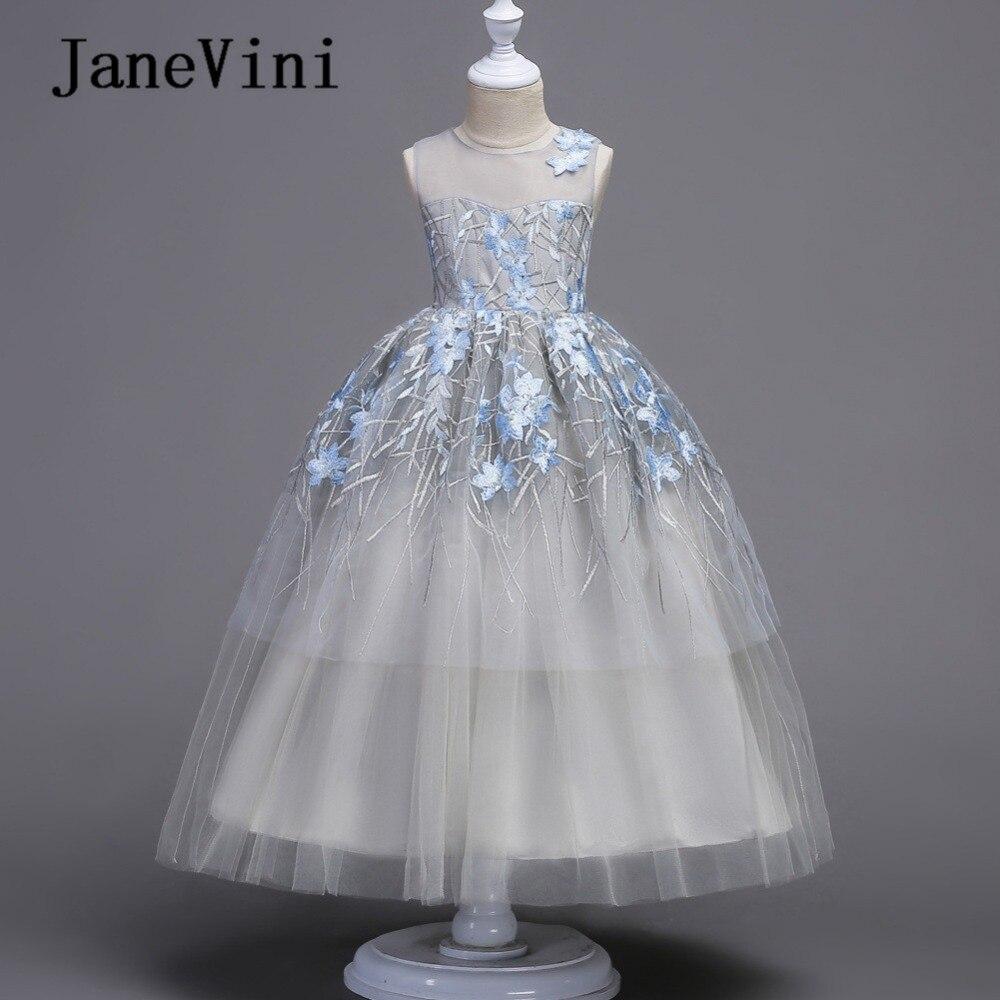 JaneVini 2018 Elegant Princess   Flower     Girl     Dresses   for Weddings Embroidery Pageant Gowns Floor Length Kids First Communion   Dress