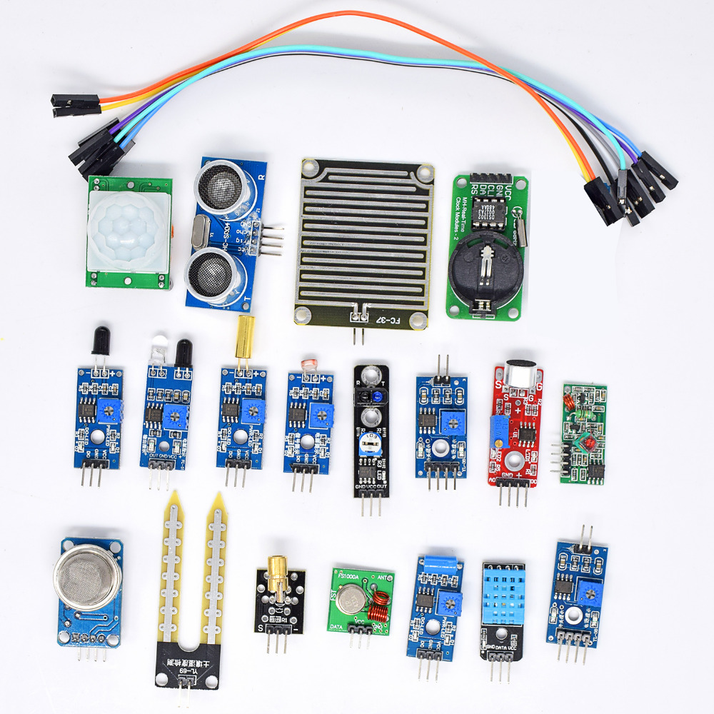 все цены на 16pcs/lot Raspberry Pi 3&Raspberry Pi 2 Model B the sensor module package 16 kinds of sensor Free shipping онлайн