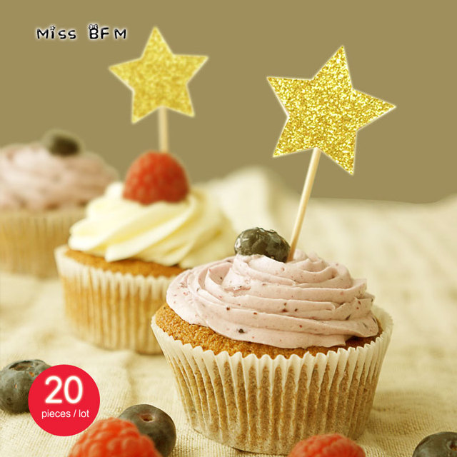 20pcs Glitter Gold Star Wedding Cup Cake Topper Souvenirs Birthday ...