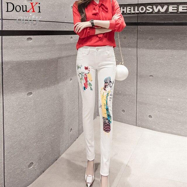 Весна Новая Мода джинсы женщин Случайные Белый Карандаш жан брюки Девушка Мыть печати Шаблон джинсы Узкие Длинные женские