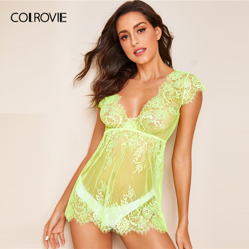 Image 4 - COLROVIE Neon Lime Floral Lace Dress With Thong Women V Neck Solid Sheer Babydolls 2019 Summer Sexy Night Dress-in Nightgowns & Sleepshirts from Underwear & Sleepwears