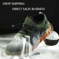 Hommes en plein air respirant maille léger et confortable en acier orteil chaussures de travail de protection bottes hommes été résistant à la perforation chaussures de sécurité