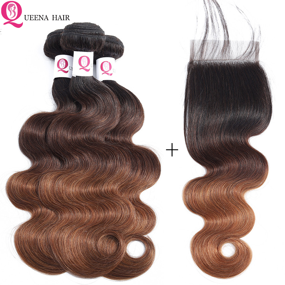 Ombre Raw Indian Hair Body Wave 3 Bundles With Closure 1B/4/30 Three Tone Color Remy Human Hair Swiss Lace Closure With Bundles