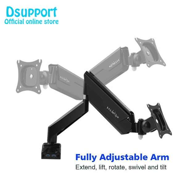 Full Motion Desk Mount with Mount and Gas Spring for Computer Monitors 13-30 LED LCD Flat Panel TVs from 2.2lbs upto 22 цена