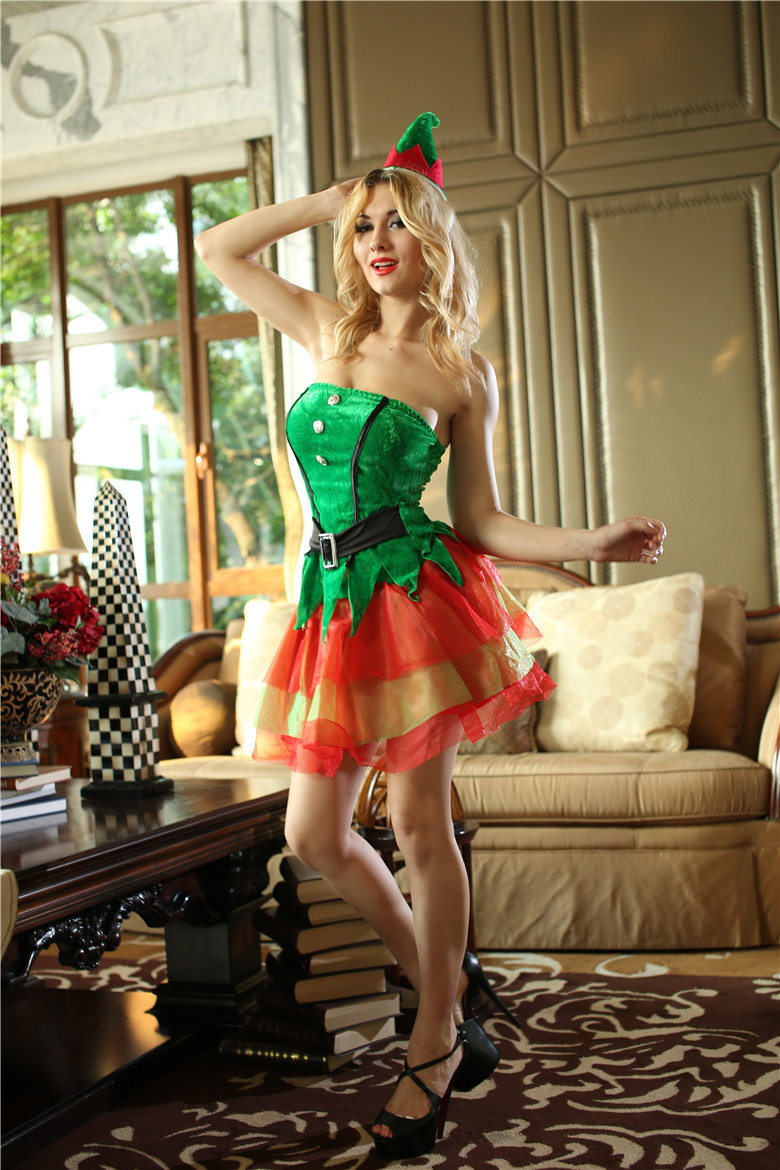Christmas tree dress up images - Free Shipping Lady Green Red Strapless Christmas Tree Costume Hat Sexy Winter Xmas Party Fancy Dress Night Holiday Club Wear In Anime Costumes From Novelty