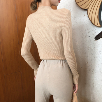 New Fashion Button Turtleneck Sweater Women Spring Autumn Solid Knitted Pullover Women Slim Soft Jumper Sweater Female Knit Tops 5