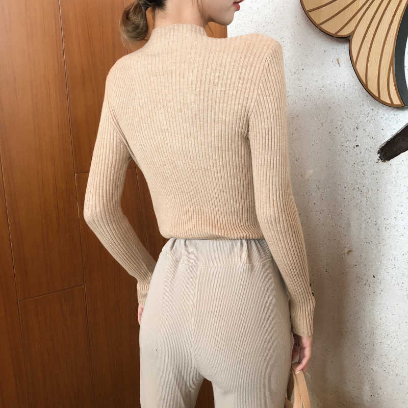 Neue Mode Taste Rollkragen Pullover Frauen Frühling Herbst Solide Strick Pullover Frauen Dünne Weiche Jumper Pullover Weibliche Stricken Tops