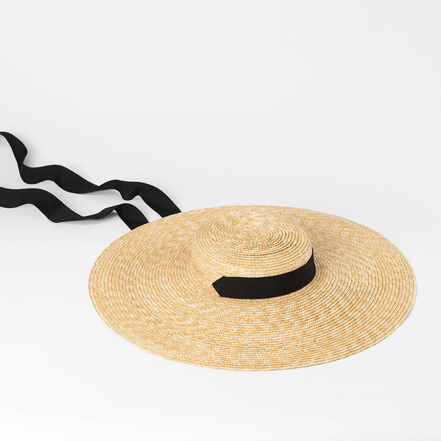 Wide Brim Straw Hat with Ribbon Tie Boater Hat for Women Summer Beach Sun  Hats Vintage 5ecbde07211c