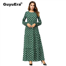 GuyuEra New Polka Dot Printed Long Dress Middle Eastern Fashion Long Robes 2018 Autumn Muslim Embroidery Loose Large Size Dress(China)