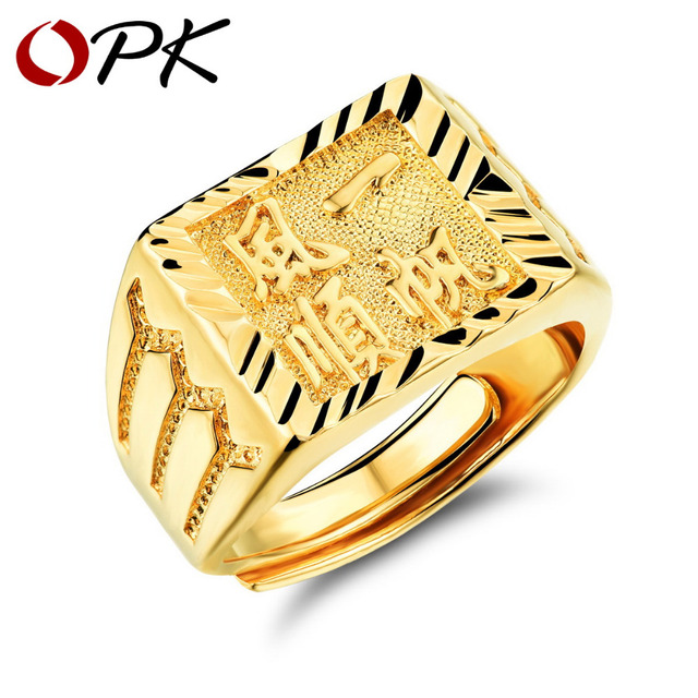 opk gold ring menwomen gift wholesale gold color 14mm wide classic gold wedding bands - Gold Wedding Rings For Men